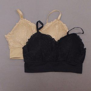 2 Pack Lace Leisure Bras Black/ Nude XL